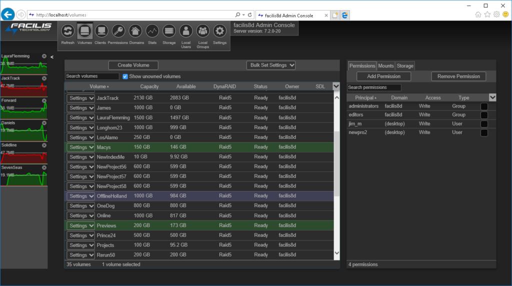 Production Asset Management - Facilis Web Console